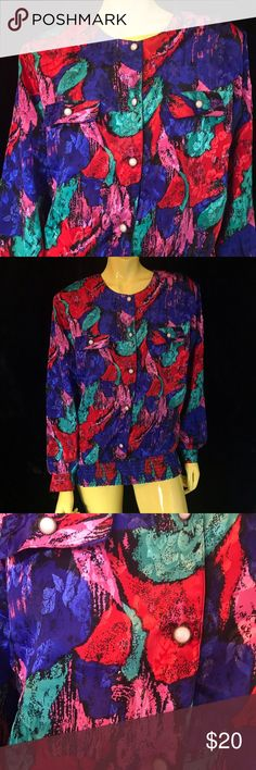 """•🥀📚 80s Satiny Rose Paint Streak Blouse 📚🥀• Just a splash of color 💦🖌💚❤️ with wild crinkle style waist, boxy fit and shiny rose pattern print throughout 🌹💦.  . • Maycene • 💯% Polyester • Made in U.S.A 🇺🇸 • S •  . • Bust: 40"""" • • Hem: 32"""" - 40"""" • • Shoulder: 17"""" • • Sleeve: 21"""" •  • Length: 25"""" • . . • * • . • ✶ • . • * • .  #vintage #vtg #retro #80s #clothing #fashion #bold #blouse #button #shirt #satiny #silky #rose #streak #art #abstract #paint #painterly #streak #colorful…"""