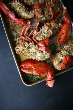 Add flavor to the stuffing using St. Ours Clam Broth. Just wanted to share this delicious recipe from Lidia Bastianich with you - Buon Gusto! Roast Lobster with Bread Topping Lidia's Recipes, Kitchen Recipes, Fish Recipes, Seafood Recipes, Italian Dishes, Italian Recipes, Sushi Fish, Poached Lobster, Lidia Bastianich