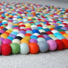 100cm Multicoloured Felt ball Rug Round Felt Rug Kids