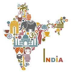 Illustration about Traditional symbols in the form of a map of India. Illustration of drum, palm, flowers - 43099304 India Country, Country Art, Goa India, North India, Map Of India, Delhi India, India Culture, Color Meanings, Thinking Day