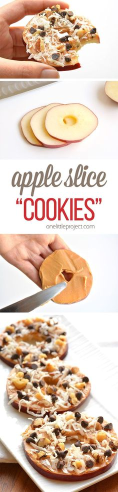 These apple slice cookies taste AMAZING! They're easy to throw together, sup… These apple slice cookies taste AMAZING! They're easy to throw together, super healthy and will actually keep you full. The perfect afternoon snack! Vegan Snacks, Snack Recipes, Dessert Recipes, Cooking Recipes, Diet Recipes, Diet Snacks, Healthy Recipes, Snacks At Work, Healthy Foods