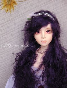 10in Long Dark Purple Mohair Wavy Wig for Volks BJD SD by natrume, $35.90
