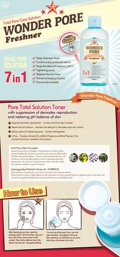 """Etude House WONDER PORE Freshner 250ml Features      Pore astringent toner with antiseptic properties removes oil, dirt, germs     and residues for clear, healthy skin.     """"Astringentlex : Pore Constriction      Chrysanthemum : Anti-Inflammatory Car"""