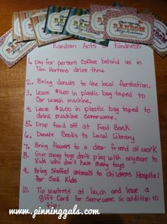 Random Acts of Kindness | Pinning Gals