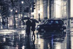 London photography - Rain photography - Blue - I love London - Romance UK Rainy Street, Street Work, Rain Photography, Photography Business, London Street Photography, London Winter, Tokyo Streets, Walking In The Rain, Cloudy Day