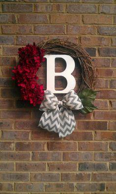 Christmas Red Sparkle Hydrangea Initial Chevron Burlap Wreath