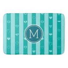 Monogram Turquoise Stripes Modern Heart Pattern Bathroom Mat - modern gifts cyo gift ideas personalize