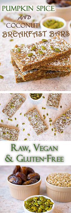 Healthy, no-bake, vegan and Gluten-free breakfast bars.