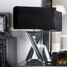 "Diamond Glitz Noir Smoked Mirrored 'X' Table Lamp With 20"" Shade Beveled Mirror, Beveled Glass, 7 Drawer Dressing Table, Mirrored Vanity, Vanity Mirrors, Brick Paneling, Upholstered Stool, Mirror Panels, Crystal Knobs"