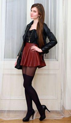 Burgundy leather skirt black ramones and over the knee tights Ari-Ma . - Burgundy leather skirt, black ramones and over-the-knee tights Ari-Ma - Mode Outfits, Skirt Outfits, Sexy Outfits, Fashion Outfits, Womens Fashion, Heels Outfits, Stylish Outfits, Tights And Heels, Tights Outfit