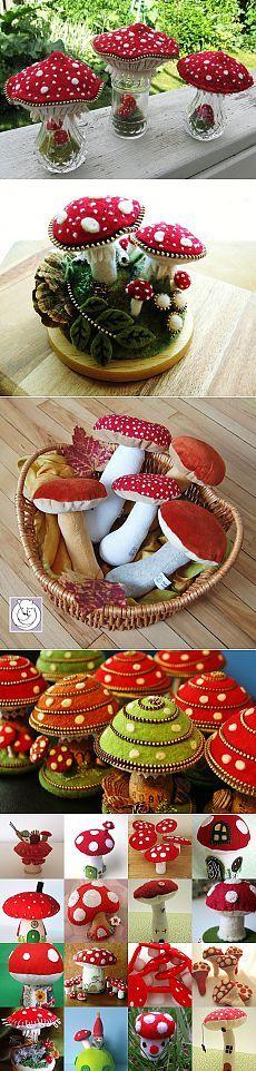 Christmas Wreaths, Christmas Crafts, Mushroom Art, Felt Food, Little Things, Halloween, Diy And Crafts, Stuffed Mushrooms, Shapes