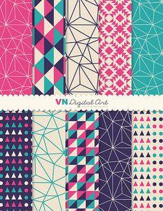 "Digital Paper, Instant Download, Geometric Digital Paper Pack (8.5x11"") -- 10 Digital papers -- 531"