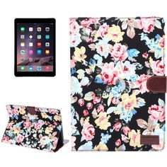 For+iPad+Air+2+Black+Flower+Pattern+Leather+Case+with+Holder,+Card+Slots+&+Sleep+Function