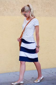 anchor shirt and striped pencil skirt