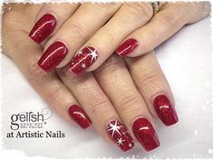 in Good Gossip with scattered star stamping using Christmas Gel Nails, Holiday Nail Art, Christmas Nail Art Designs, Star Nail Designs, Fingernail Designs, Star Nails, Red Nails, Fancy Nails, Pretty Nails