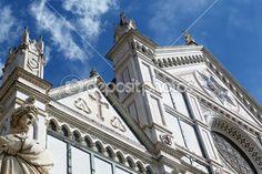 Italy, Florence, Santa Croce church and statue of Dante Alighieri