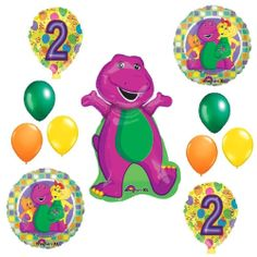 2nd BARNEY BALLOONS SET  birthday party supplies decorations girl boy second boy
