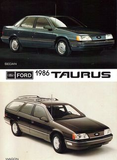 1986 Ford Taurus 4 Door Sedan - We became Taurus people when they came on the… Vintage Advertisements, Vintage Ads, Carros Suv, Ford Taurus, Ford Classic Cars, Classic Auto, Old American Cars, Mercury Sable, Ford Lincoln Mercury