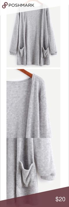 Grey Elastic Cuff Long Cardigan Awesome third piece for any outfit!!! Get it quick I'm pricing to sell!!! Sweaters Cardigans