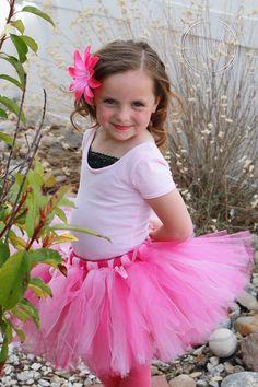 PINK PRINCESS-- Custom Made Hand Tied Tutu Skirt with Free Flower Clip, Newborn-5T, by HAPPYBUBKIN on Etsy