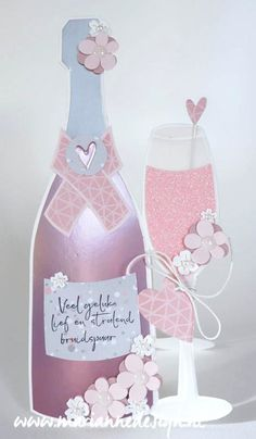 Craft stencil Champagne by Marleen Marianne Design, Wedding Cards, Tea Party, Stampin Up, Stencils, Birthday Cards, Christmas Cards, Projects To Try, Birthdays