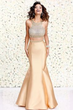 Gold Two-Piece Mermaid Prom Dress 4073 - Prom 2017 - Collections