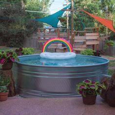 How Much Does a Stock Tank Pool Cost — Mid Modern Mama Diy Swimming Pool, Diy Pool, Kiddie Pool, Build Your Own Pool, Pool Cost, Pool Steps, Stock Tank Pool, Pool Chemicals, Pool Waterfall