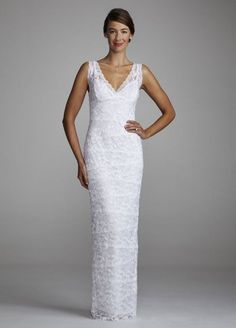 David's Bridal Wedding Dress: Beaded Stretch Lace Sheath with Tank Bodice Style 642636D -          Traditional but exceptional, you are spectacular in this dress. Beaded stretch lace sheath features tank bodice, surplice v-neckline. Floor length skir