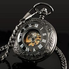 Classic Steampunk Roman Dial Mechanical Skeleton Steel Mens Black Windup Pocket Watch Alternative Measures