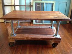 Reclaimed Wood Coffee Table, Crate Dolley, Galvanized pipe, metal casters via Etsy Reclaimed Wood Coffee Table, Rustic Coffee Tables, Reclaimed Wood Furniture, Reclaimed Barn Wood, Metal Furniture, Ottoman Furniture, Pallet Furniture, Furniture Ideas, Pipe Table