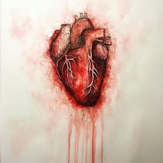 You had my heart inside of your hands and you played it to the beat... Aquarell und Edding. #kunst #herz #heart #madebyme #drawing #selfmade #aquarell #tusche #zeichnung #arts #artsofinstagram #blood #painting #adele