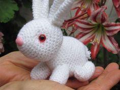 Amigurumis Amorosos: El conejo Alejo, conejo blanco amigurumi