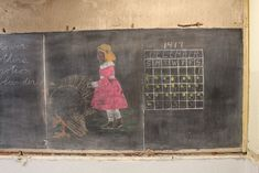 The Oklahoma City School District will work to preserve the chalkboards which carry lessons on pilgrims. Blackboard Drawing, Chalkboard Drawings, Chalkboard Lettering, High School, Us School, Public School, School Memories, School Life, Vintage Chalkboard