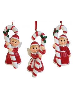 Angel Holding Candy Cane Asst. 3 Candy Cane, Pixie, Angel, Christmas Ornaments, Holiday Decor, Collection, Home Decor, Decoration Home, Barley Sugar