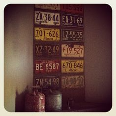 license plates as decoration in boys room