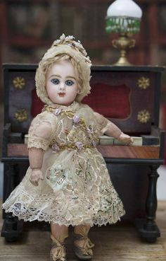 """9 1/2"""" (24 cm.) Antique French Bisque Tiny Bebe Jumeau Doll, closed from respectfulbear on Ruby Lane"""
