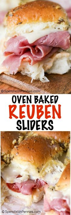 Reuben Sandwich Sliders make the perfect party food or easy weeknight dinner! Dinner rolls are loaded up with all of your favorite Reuben sandwich fillings, topped with a seasoned buttery topping and baked until warm and melted. Reuben Sandwich, Soup And Sandwich, Slider Recipes, My Recipes, Cooking Recipes, Favorite Recipes, German Recipes, Wrap Recipes, Recipies