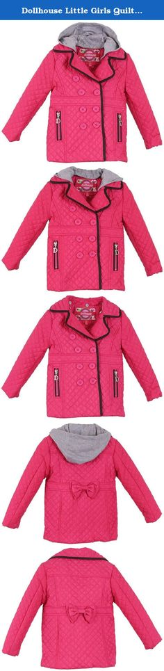 Dollhouse Little Girls Quilted Trench Spring Jacket with Removable Hood - Magenta (Size 2T). Keep your darling warm and protected in this classical neat quilted jacket by Dollhouse. Beautifully designed, this jacket posesses PU Leather trim, a waist pont with bow, and a lapel collar which can be worn opened or closed. Features an inside removable soft jersey hood for added comfort and convenience. Available in a variety of colors in sizes 2 to 16. Product Care: Machine wash cold.