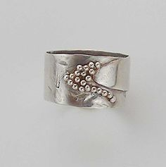 Wide Hammered Silver Band Wedding Ring with Fine Silver Granulation Beading Organic Design Hand Made on Etsy, $85.00