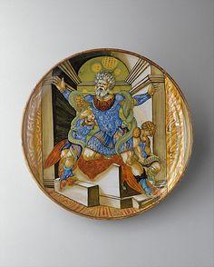 Dish (coppa)  Francesco Xanto Avelli da Rovigo (Italian (Urbino), active first half of 16th century)  Artist: Lustered in Gubbio Date: 1532 Culture: Italian, Urbino Medium: Maiolica (tin-glazed earthenware)