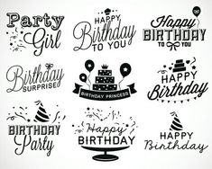 Find Set Birthday Party Calligraphic Illustrations Vintage stock images in HD and millions of other royalty-free stock photos, illustrations and vectors in the Shutterstock collection. Happy Birthday Writing Style, Happy Birthday Doodles, Happy Birthday Logo, Happy Birthday Calligraphy, Happy Birthday Drawings, Happy Birthday Black, Happy Birthday Vintage, Birthday Words, Birthday Wishes