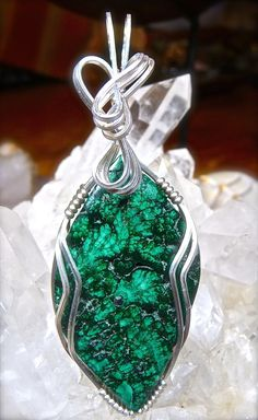 Wire Wrapped MALACHITE Pendant in Argentium Silver Healing Gemstone Silver Necklace Malachite Wire Wrap Malachite Jewelry Green Pendant by CrawfordStones on Etsy
