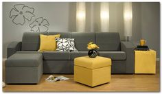 Wonderful Small Sectional Sofa for Homey Relaxation: Striking Small Sectional Sofa With Yellow Cushions In Living Room Combined With Grey Sofa Furniture Made From Fabric Material In Modern Style ~ CLAFFISICA Furniture Inspiration