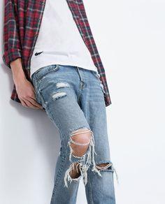 Bild 2 av DENIMBYXA MED STORA REVOR från Zara All Jeans, Ripped Jeans, Fashion Catalogue, Denim Pants, Casual Looks, Latest Trends, Street Wear, Mens Fashion, Clothes
