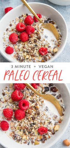 This paleo cereal recipe will totally transform your mornings Its super quick easy and versatile as well as perfectly crunchy and naturally a bit sweet Ready in about 3 m. Paleo Vegan, Vegan Raw, Vegetarian, Paleo Cereal, Cereal Recipes, Cereal Food, Fruit Cereal, Gluten Free Cereal, Paleo Breakfast Casserole