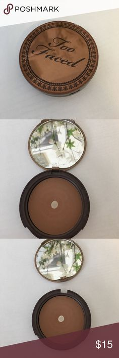 Too Faced Bronzer Loved this bronzer! Just hit pan, the lid is broken but still closes. Tons of product left! Too Faced Makeup Bronzer