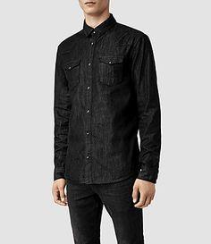 Mens Munrow Denim Shirt (Black) - product_image_alt_text_2