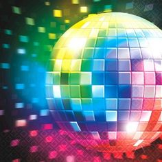Disco Fever 70's Dinner Napkins.  One 16 count package of 6.5 inch square Disco Party Lunch Napkins. Outta sight and dyno-MITE! Treat your Boogie Fever with a dose of 70s kitsch when you fan these Disco Party Lunch Napkins out on the table.
