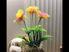 How to stockingflower (cattleya orchid )by ployandpoom (ผ้าใยบัว)็ดอกแคทลียาผ้าใยบัว - YouTube