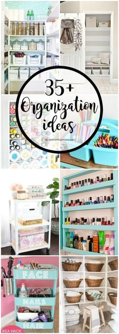 35+ Organization Tips, de-cluttering hacks and storage ideas for every space in your home. #clutterhacks